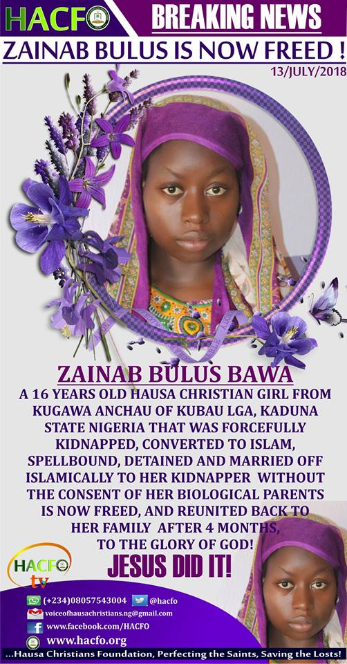 ZAINAB BULUS BAWA, ABDUCTED GIRL ALLEGEDLY FORCED TO CONVERT